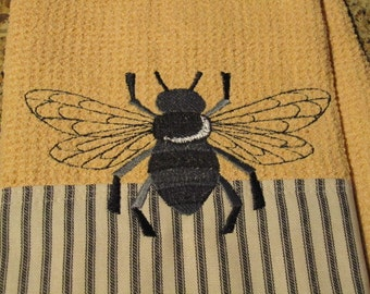 Napoleonic Bee (Butter) - Black & White Ticking Edge - Microfiber Waffle Weave Kitchen Towel