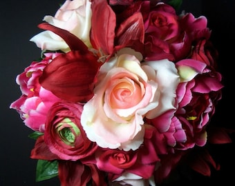 Peonies Bouquet with Roses, Lilies, and Ranunculus, Rustic Wedding Flowers, Swarovski crystals on Ribbon