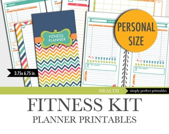 Fitness Planner Inserts | Personal Size | Printable | Food Diary | Workout Log | 3.75 x 6.75 in. | Instant Download