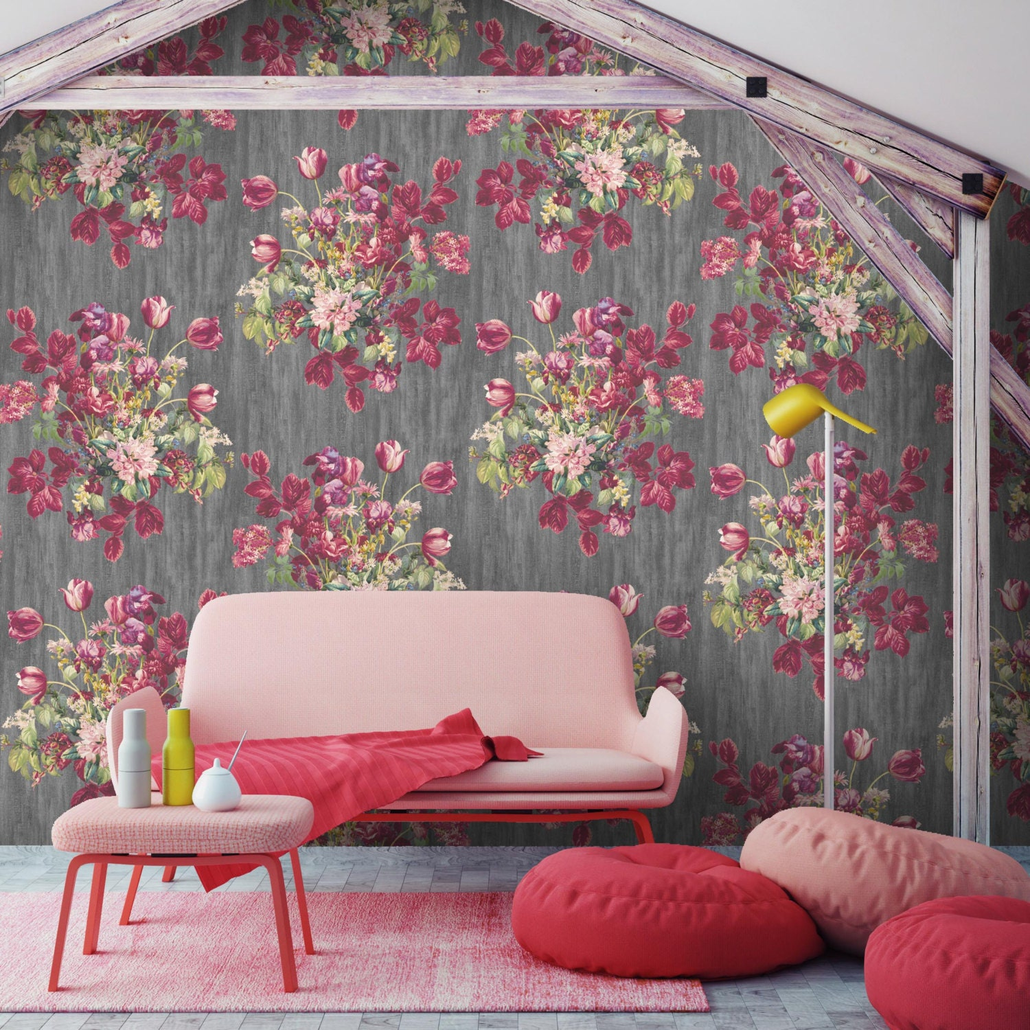 Image of Eunoia, Watercolour floral wallpaper, 10meter roll, watercolour flowers, feature wallpaper,Paste the wall, wallpaper, floral bouquet, leaves