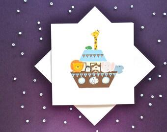 Noah's Ark Christening Card- On your Christening card- Baptism card-Confirmation card-Baby Christening-girl card-boy card