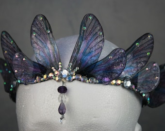 READY TO SHIP - Enchanting Gothic Indigo Purple Mermaid/Siren/Fairy Queen Rounded Fairy Wing/Bridal/Prom/Pagan Tiara/Crown/Headdress