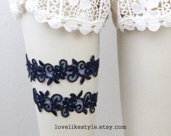 Navy Beaded Lace Wedding Garter Set, Navy Lace Garter Set, Toss Garter , Wedding Garter Belt/ GT-21