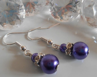 Wedding earrings rhinestone and purple beads