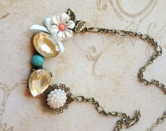 Vintage Inspired Mixed Media Charms Brass Pearl Flower Bling Necklace Jewelry