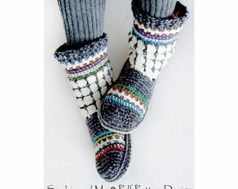 Fair Isle Slipper-Boots for Adults - Crochet Pattern - Instant Download Pdf