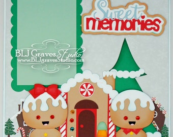 Christmas Gingerbread Premade Scrapbook Page 12x12 Layout Paper Piecing Handmade 10