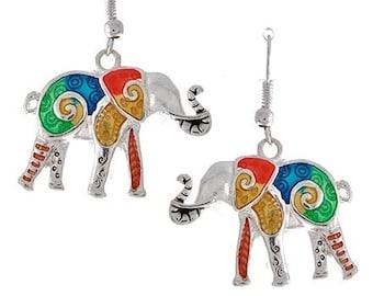Sale| Elephant Earrings - Multicolor Elephants - Elephant Jewelry - Nature - Summer - Boho Chic - Animal Jewelry - Symbolic - Teen - Boho -