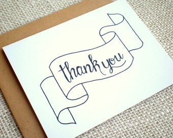 Set of 10 Thank You Cards - Simple Hand Drawn Thank You Note Cards for Weddings or Any Occasion - Banner Thank You Cards with Kraft Envelope