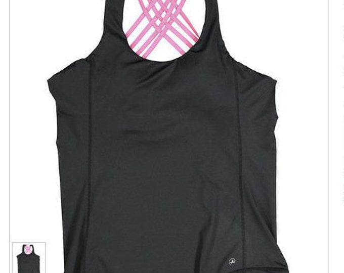 New Year Workout Tank! Built In Sports Bra, Dance Shirt, Workout Shirt,  Criss -Cross Back-Great Support- Reg 44.00 -On Sale 25.00