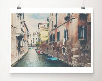 Venice photograph canal photograph blue boat photograph Venice art travel photography boat print bridge photograph wanderlust art