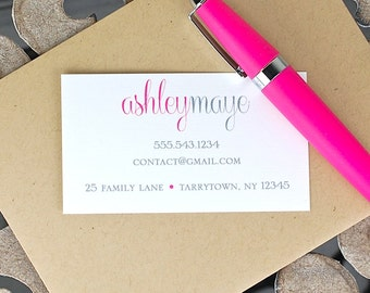 Calling Cards / Custom Calling Cards / Business Cards / Contact Cards / Personalized Calling Cards - Script Name