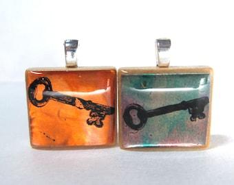 Key  - Glowing metallic Scrabble tile pendant
