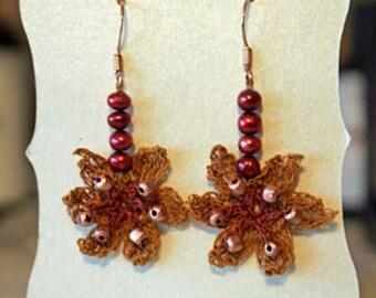 Daffodil Earrings - Gold/Red. Pearls, Rose Gold, Silk, Irish Crochet