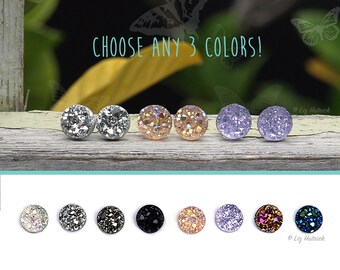 8mm Faux Druzy Earrings - 3 Pair Set - You Choose the Colors! Titanium, Sterling Silver, or Stainless Steel Posts