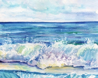 Ocean Waves - Kauai Hawaii - 8 x 10 Art Print - Beach Wave Art - Kauai Surfing Art - Beach  Ocean Print - Hawaiian Decor - Crashing Waves