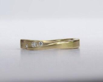 Gold Wedding Band, Unique Gold Wedding Ring, Artisan Wedding Band, Gold Stack Band, 14k or 18k