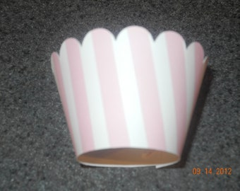 Pink and White Stripe Cupcake Wrappers- Set of 12  Birthday Party Candy Pink