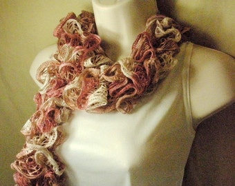 Pink Mauve Lacy Ruffled Scarf