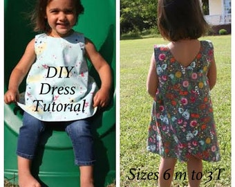 Toddler Dress Pattern, Tutorial for Crossover Reversible Pinafore, Instant Download Sewing Pattern - Toddler Dress Pattern