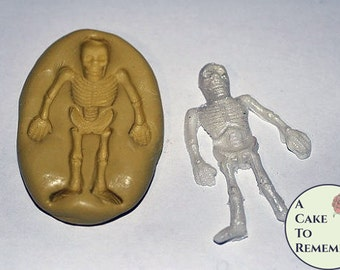 """Silicone Skeleton Mold. Use with gumpaste for cake decorating, or polymer clay for crafts. About 2"""" tall. Halloween cookie decorations. M023"""