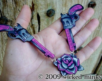 hot pink and black double vintage tattoo pistol and rose necklace