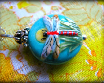 Dragonfly Pendant Necklace , Symbol of Transition and Life Transformation