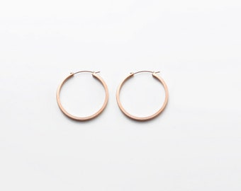 Rose Gold Thick Hoops Earrings