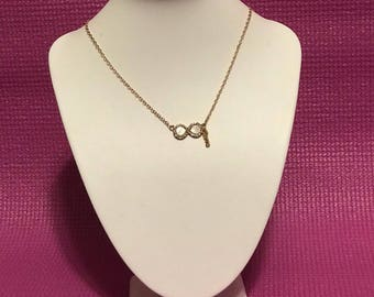 Infinity gold plated drop necklace