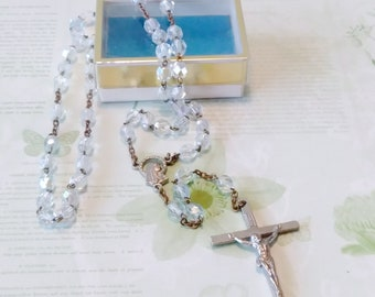 Vintage Glass Rosary/vintage rosary/Italy rosary/rosary beads/prayer beads/glass bead rosary/cross/cross necklace/crucifix/catholic