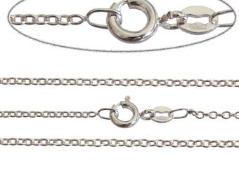 "925 Sterling Silver Fine 1.2mm Italian made Trace Chain Necklace 16"" 18"" 20"" 22"" 24"" Inch, All Sizes"