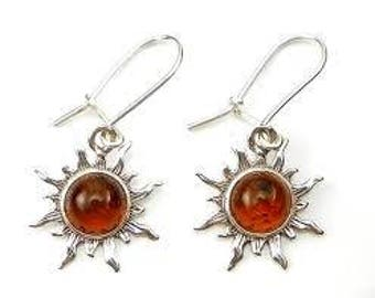 Amber Sun earrings in Silver