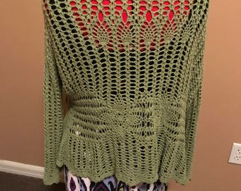 Olive green crocheted Woman's sweater