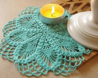 Crochet doily Turquoise crochet doily Small flower doily Small crochet doilies Crochet flower doilies Small doilies 214