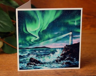Ocean Print, Aurora Borealis, Note Card, Lighthouse Art, Print, Seascape Painting, Nautical, Landscape Painting, Northern Lights, Galaxy Art