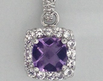 Natural Amethyst with Created White Topaz Pendant 925 Sterling Silver