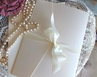 Vintage Romantic Pocketfold Wedding Invitation Handmade SAMPLE by avintageobsession on etsy