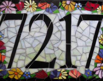 Custom Glass Mosaic Home Address Sign