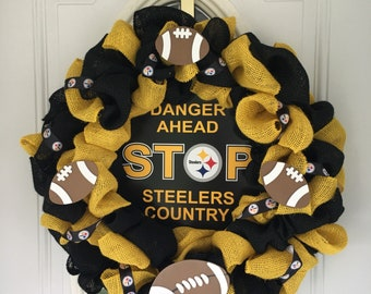 Pittsburgh  Steelers burlap wreath
