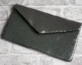 Grey Sequin Envelope Clutch Bag // ladies evening purse // charcoal grey handbag