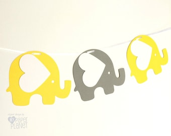 Bright Yellow and Grey Elephant Garland. Baby shower, birthday party, bunting, banner, dessert table. Party Decorations