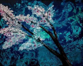 Blossom Tree Acrylic Painting Canvas Metal Print