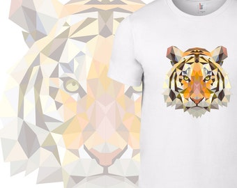 Tiger animal lover tee shirt geometric design