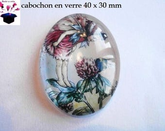 1 cabochon glass 40x30mm theme Elf / fairy