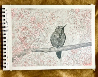Marvelling at Spring | Original Work in Ink | Size 9in X 12in