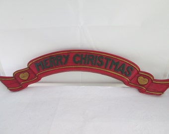 Red n Green Homco 3D Merry Christmas Banner Christmas plaque plastic Xmas decor Christmas decoration Christmas decor 3D Christmas art
