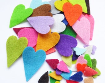 Felt Hearts I, 50 pieces, small hearts, felt die cut, felt shapes, felt for crafts, felt supplies, headbands supplies, hearts, colored heart