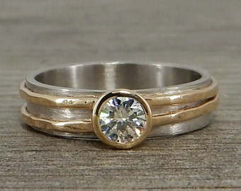 Moissanite Palladium Ring, with Recycled 14k Yellow Gold and 950 Palladium - Engagement Ring, Ethical, Eco-Friendly, Asymmetrical, Two-Tone