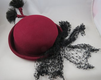 Vintage Bowler Hat Feather Pom Poms, Womens, Maroon Wool with Black Lace Bow Sash, As Is Hat Making Supplies, Cosplay