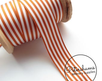 25mm Berisfords Stripe Ribbon for Hat Trimming & Crafts 1m (1.09 yards) - Rust